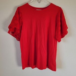 Micheal Kors Red Short Sleeve Blouse Size L